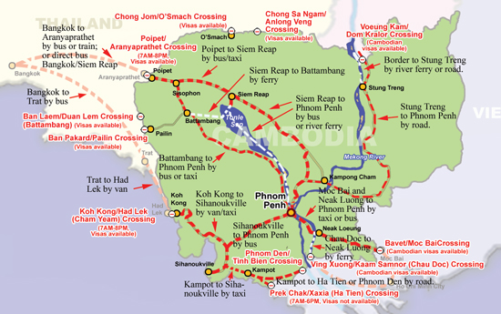 Cambodia overland routes to Vietnam and Thailand